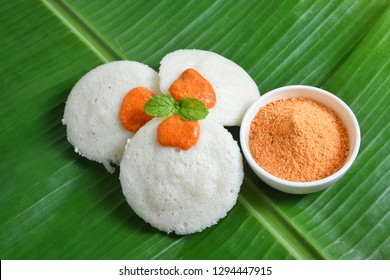 Three Idli or idly with coconut chutney powder popular breakfast of South India and Sri Lanka. Healthy steamed cakes are made by steaming batter consisting of fermented black lentils and and rice.