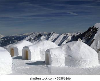 Three igloos in the mountains, Kitzsteinhorn, Austria