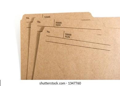 Three isolated file folders.