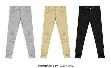 three jacquard pants in silver, gold and black, isolated on white background
