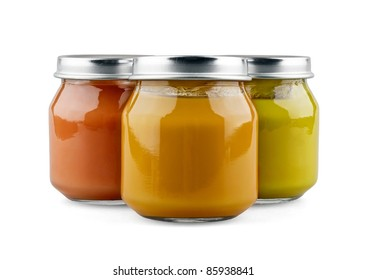 Three jars of baby food on white background