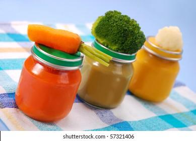 three jars of vegetables puree as baby food