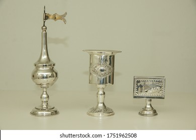 Three Jewish service items, with decorations, for Havdalah Saturday Kiddush ceremony