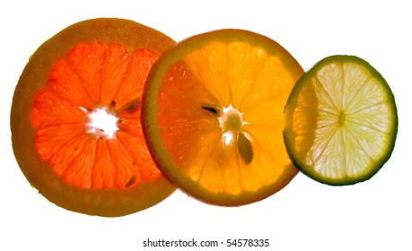 three juicy colorful citrus fruits