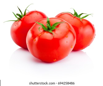 Three juicy red tomatoes isolated on white background
