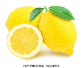 Three juicy yellow lemon with leaf sections isolated on a white background. Design element for product label, catalog print, web use.