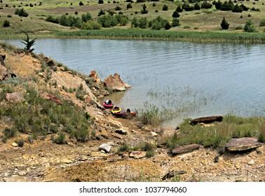 Three Kayaks on the Shorts of Lake Wilson, Kansas