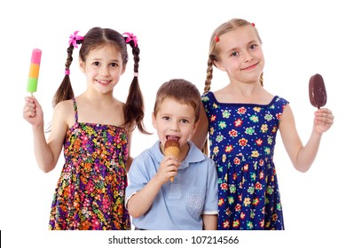Three kids are show and eat their ice cream, isolated on white