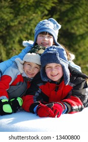 Three Kids in the Snow