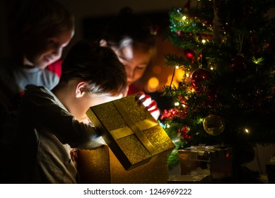 Three kids, two toddler boys and a girl, opening a golden gift box with light coming out of it under a Christmas tree with holiday lights.