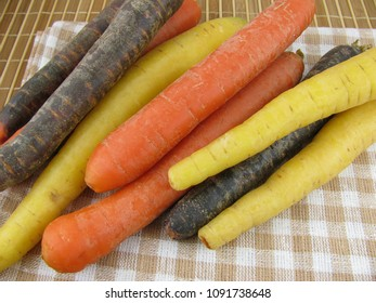 Three kind of fresh colorful mixed carrots