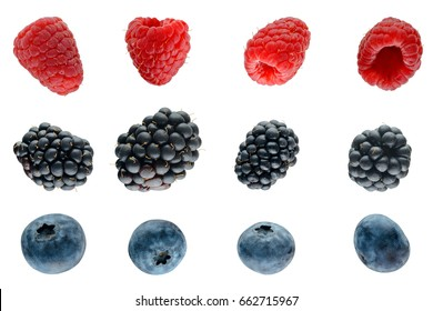 Three kinds of berries in different positions isolated on white