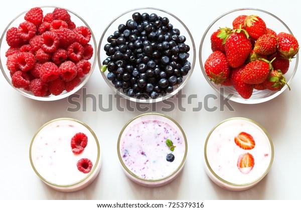 Three Kinds Berry Yogurt Serving Cups Stock Photo Edit Now 725379316