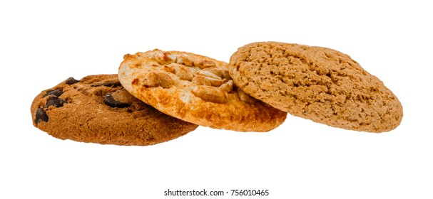 Three kinds of different cookies on white isolated background