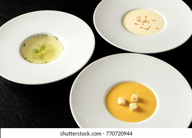 Three kinds of soup, Vichyssoise Consomme(clear), potage