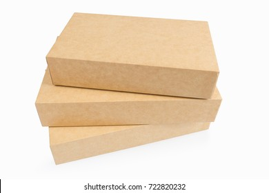 three kraft paper boxes isolated on white with clipping path