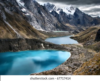 "The three lagoons at the Huayhuash Trek- Better known as "" The Second most beautiful terk in the world "" rated by National Geographic"
