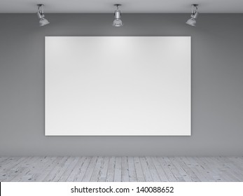 three lamps and blank poster on wall