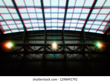 Three lamps in industrial environment with chromatic aberration bokeh background