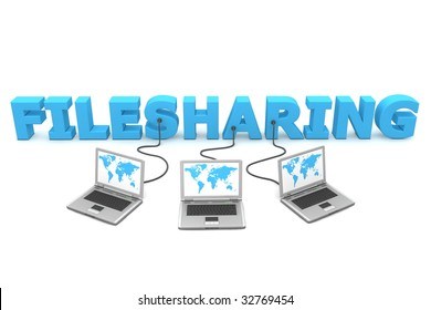three laptops with world map connected to the 3D word Filesharing