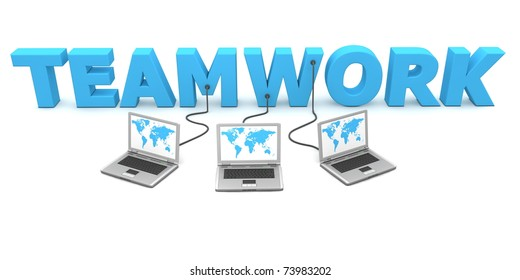 three laptops with a world map are connected to the 3D word TEAMWORK