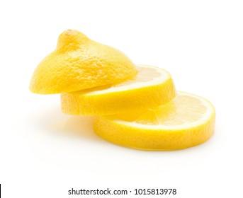 Three lemon ring slices isolated on white background