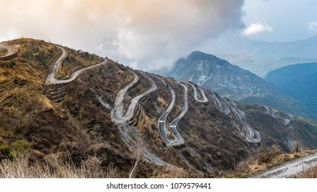 Three Level Zigzag road is probably the most dizzying road in the world. Located in the Sikkim Indian state, in the Himalayan mountains.