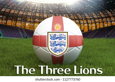 The Three Lions text on England football team ball on big stadium background with England Team logo competition concept. England flag on Sport competition on green grass background.3d rendering