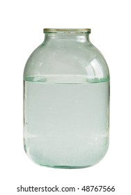 three liter transparent glass jar filled with water, isolated on white background