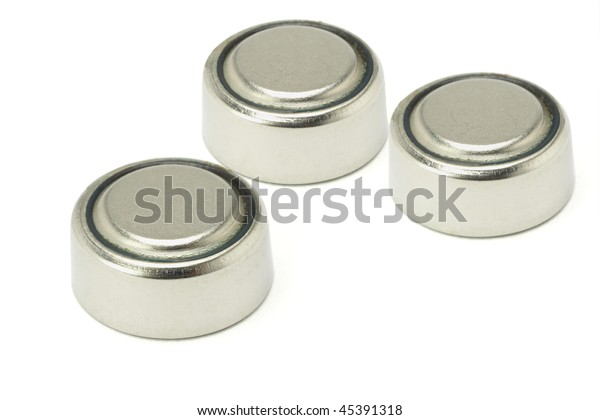 Three lithium batteries isolated on white background