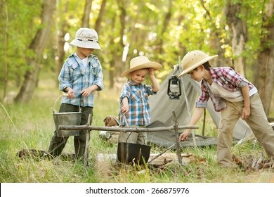 Three little boys staged a halt with a tent and a campfire in the woods in summer sunny day