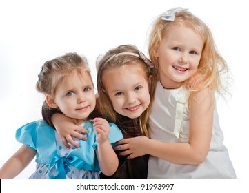 three little pretty smiling girls