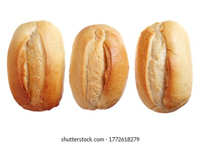 Three loaves of small wheat bread isolated on white background, top view
