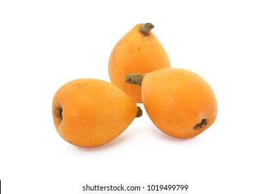 Three loquats isolated on white background