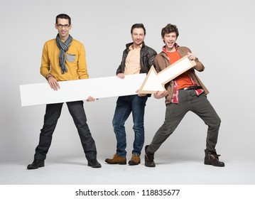 Three man with arrow