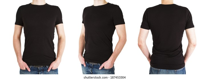 three man in black polo t-shirt on a white background