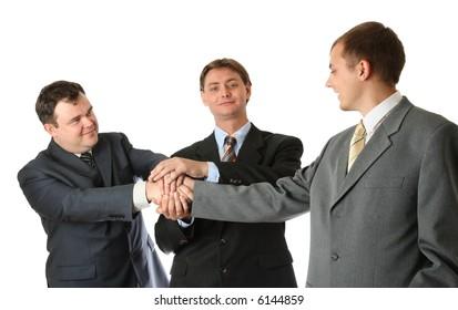 Three man, handshake over background
