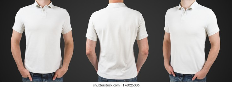 three man in polo t-shirt standing back