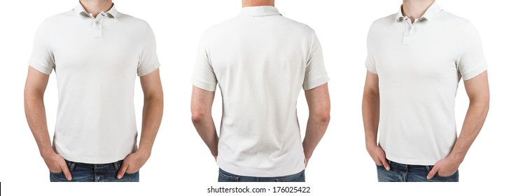 three man in white polo t-shirt on a white background