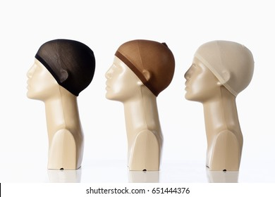 Three Mannequin Heads for Wig-making on White on White