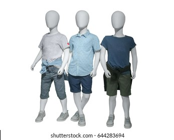 Three mannequins dressed in casual kids wear, isolated on white background. No brand names or copyright objects.