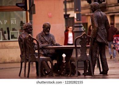 Three manufacturers of Lodz. Lodz, Poland - Sunday November 4, 2018 Artistic monument manufacturers nineteenth century Lodz,  Street Piotrkowska.