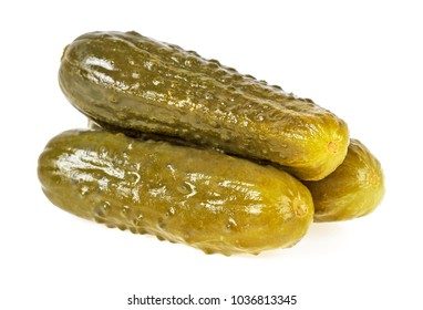 Three marinated pickled cucumbers isolated on white background