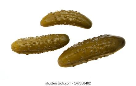 three marinees cucumber isolated on white background