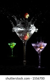 Three martini's in different colors and with different ingredients