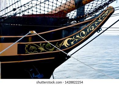three masted schooner ship bow