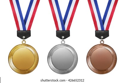 Three medals, Gold, Silver and bronze for the winners isolated on white