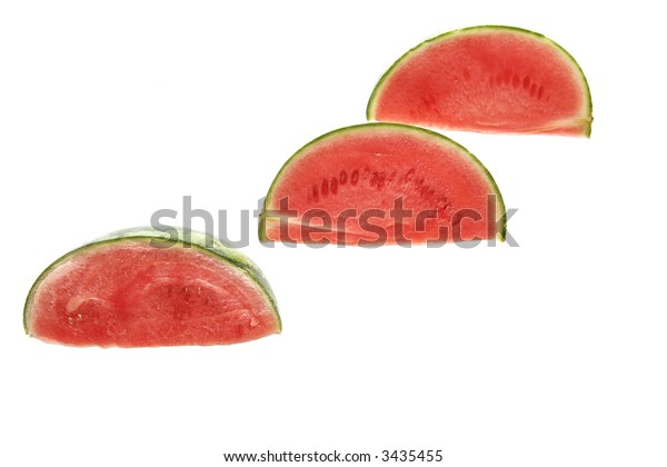 Three melons on a white background