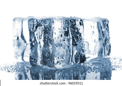 Three melting ice cubes on white background