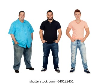 Three men with different complexion isolated on a white background